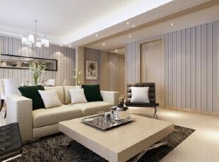 线条纹理的墙面设计让家显得不再那么单调。,116平,13万,现代,三居,客厅,
