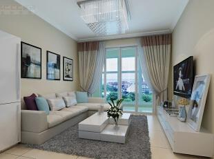 本案客厅的简洁舒适,会客厅的主幅设计引人注目。,三居,效果图,5万,现代,90平,