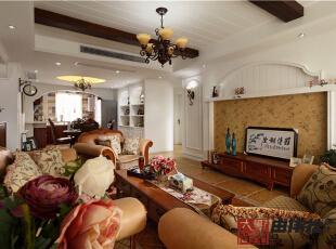 客厅实景精彩呈现,135平,8万,美式,三居,