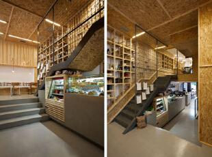 咖啡厅设计整体上选用木质材料作为装饰,力求打造出一种自然的意境。,500平,10万,现代,公装,咖啡厅设计,