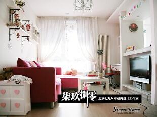 七九八零 loft设计 婚房蜜月房设计,48平,2万,现代,一居,客厅,