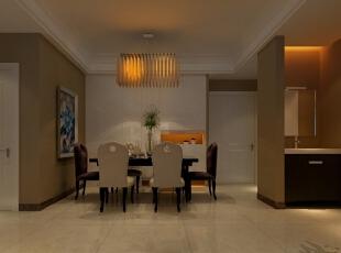 餐厅以舒适为主,乳白色背景墙的设计搭配卧室木门,为业主营造一种温馨舒适的生活环境。,三居,效果图,5万,90平,现代,