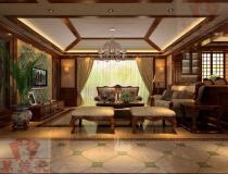 凤岭一号221平米大户型装修案例中美混搭风格设计效果图