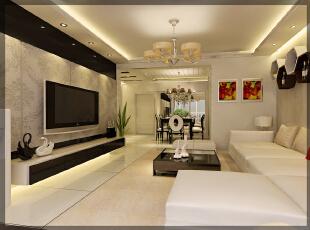 105平,16万,简约,两居,装修效果图,客厅