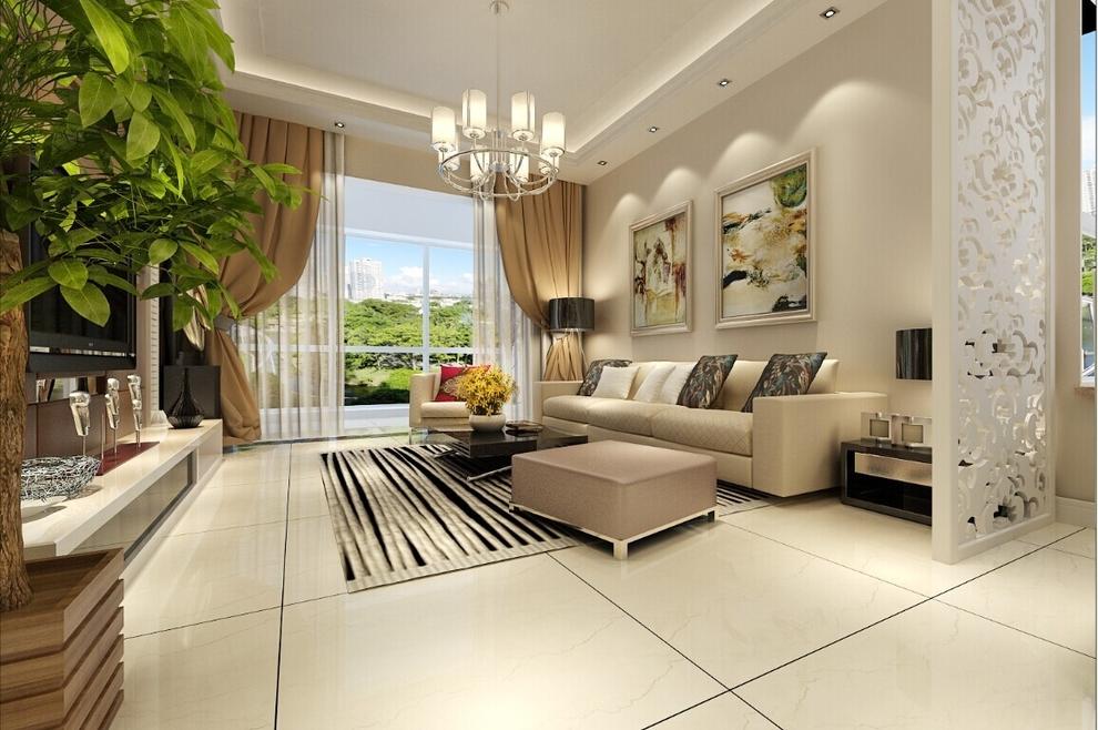 客厅沙发背景墙简单大方,乳白色的木纹隔断,使客厅更有立体感.