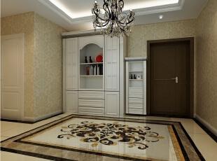 入户:开门进入眼帘的就是大气的典雅贵气的欧式拼花地砖,与水晶灯上下图片