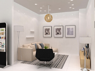 客厅风格的设计以简约简约场景为主,简约休闲的日系沙发搭配舒适公园条纹标志牌设计图片