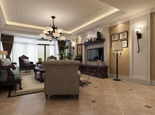 白色吊顶搭配美式家具,暖色的仿古大地砖,使整体客厅整洁大方,不会给图片