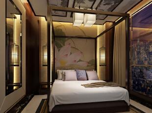 小清新版本的新中式酒店客房,运用水墨画,鸟笼,木架子床,回字造型等图片
