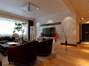 白色大理石满铺明快干净简约低碳。中间镶嵌茶色镜,黑白对比丰富眼球。,四居,190平,客厅,24万,效果图,现代,