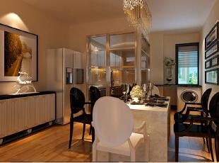 厨房的门改造成了具有通透性采光好的玻璃门,加上充满回忆的照片墙和艺术感极强的餐边柜更加突显了主人的生活品味。,190平,效果图,24万,四居,现代,厨房,