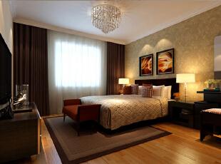 用柔美的灯光和暖色调的壁纸营造了温馨舒适的私密空间,更有利于主人的休息和放松,别且遵循着现代简约的设计风格,整体呼应。,四居,现代,卧室,24万,190平,效果图,