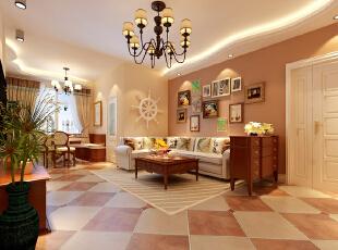 客厅餐厅不规则线条的吊顶、卡座,相互呼应,加上柔美的灯光显得比较自然亲切,在透过整个空间的暖色调墙面处理、软性家具、材质的搭配、空间比例、灯光配置等运用,更加呈现出业主的个人品味。,效果图,104平,客厅,三居,10万,美式,