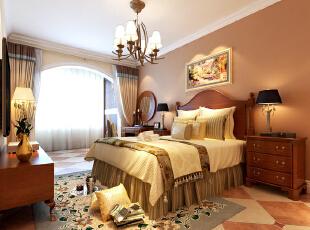 卧室是一对新人生活的开始,也是男女主人最爱的休闲角落。温馨、浪漫的氛围很重要。卧室与阳台中间的拱形垭口与风格明显的家具配饰结合,充满了度假休息风格的主卧空间。,104平,效果图,卧室,10万,三居,美式,