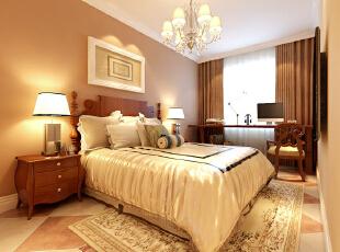 客餐厅的拼花地板延伸到次卧空间,整个起居室内秋香色壁只搭配白色家私,简单陈设与书桌等规划也预留了未来空间的成长性 。,美式,卧室,三居,效果图,10万,104平,