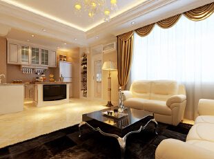起居室、厨房开放式的连在一起,别致的落地灯成为沙发处视线的焦点,每个细节都是艺术,精致的水晶吊灯,让这个空间显得与众不同,用来分野厨房与起居室的复合式多功能餐台,干净整洁,占有空间不大确功能齐全。,欧式,装修效果图,效果图,118平,客厅,两居,15万,
