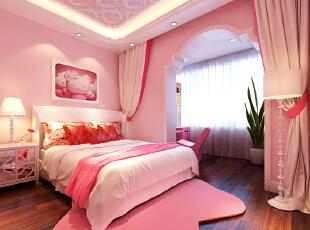 儿童房采用粉色系搭配精选的家具家饰布置出浪漫雅致的空间。窗帘、寝饰等周边配件犹如雪纺纱;梦幻又轻柔的质感,让材质的变化带出感官层次。,装修效果图,118平,两居,15万,欧式,效果图,