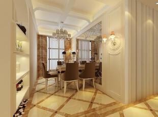 餐厅以烤漆玻璃作为背景墙,独特的吊顶已经护墙板的造型设计,彰显业主高贵典雅的生活品质。,114平,7万,欧式,三居,