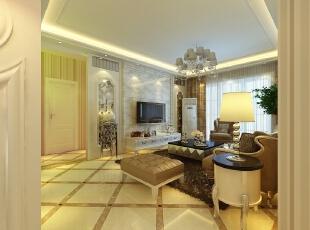 电视背景墙用的是仿石材,两侧用石膏板做的艺术造型,搭配欧式的家具,高端大气。,114平,7万,欧式,三居,