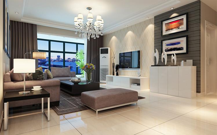 客厅边吊吊顶造型加上石膏线组合,电视背景墙亮色条纹壁纸,温馨,时尚.