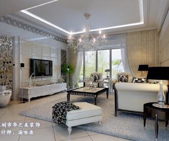 深圳龙岸花园150平简欧...