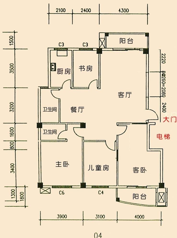 144平方米(四室两厅)平面图图片