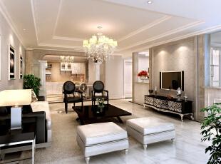 客厅:大面积采用石材彰显整个客厅的贵气,吊项拉伸了整个空间的层次感,使整个客厅更显奢华大气。,148平,8万,欧式,四居,装修效果图,