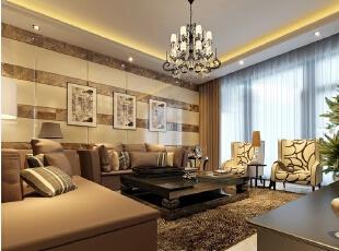 电视墙墙面和沙发背景墙面用同样的砖打造低调的感觉,7万,两居,25平,现代,效果图,