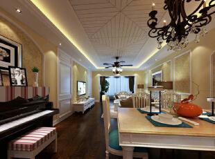 本案的设计风格为简约欧式,营造典雅、自然、高贵的气质、浪漫的情调是本案的主题。 简约、质朴的设计风格是众多人群所喜爱的,生活  在繁杂多变的世界里已是烦扰不休,而简单、自然的生活空间却能让人身心舒畅,感到宁静和安逸;藉着室内空间的解构和重组,便可以满足  我们对悠然自得的生活的向往和追求,让我们在纷扰的现实生活中找到平衡,缔造出一个令人心弛神往的写意空间。  从餐厅角度看向客厅。整体的设计中,白色与暖黄色相结合打造出欧式的典雅与奢华,又更适应现代生活的休闲与舒适。 书房榻榻米的巧利用,兼具收纳和实用的两方面性。以简约的线条代替复杂的花纹,采用更为明快清新的颜色既保留了古典简欧风格,又显露  尊贵、典雅。 卧室地板选用实木地板,简约而不失高雅。壁纸选用米黄色,于整体格调相呼应。整个空间宽敞明亮,张显简约大气之风。,140平,超高性价比,欧式,上海装修公司,简欧风格,18万,效果图,舒适生活,高端大气上档次,三居,