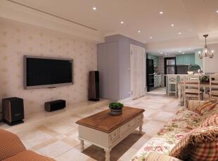地砖和家具挺搭配的,138平,18万,田园,三居,客厅,