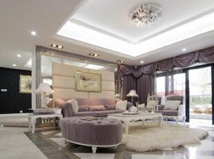 该案例采用的是美式简欧风格,装修公司四川省幸福魔方装饰工程有限公司,设计师在简欧风格上加上美式的家居配饰习惯,配饰上选择相对奢华系列,区别于传统美式简欧的自然,随行,健康的特点。白色的主色将整个家居打造得宛若冰雪世界,淡淡地粉色系加以点缀,仿佛一个美丽的童话世界;,120平,7万,混搭,三居,客厅,