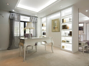 该案例采用的是美式简欧风格,装修公司四川省幸福魔方装饰工程有限公司,设计师在简欧风格上加上美式的家居配饰习惯,配饰上选择相对奢华系列,区别于传统美式简欧的自然,随行,健康的特点。白色的主色将整个家居打造得宛若冰雪世界,淡淡地粉色系加以点缀,仿佛一个美丽的童话世界;,120平,7万,混搭,三居,欧式,美式,书房,
