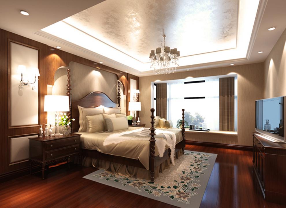 卧室墙面配有暖色调墙纸,搭配上高贵典雅的欧式双人床.