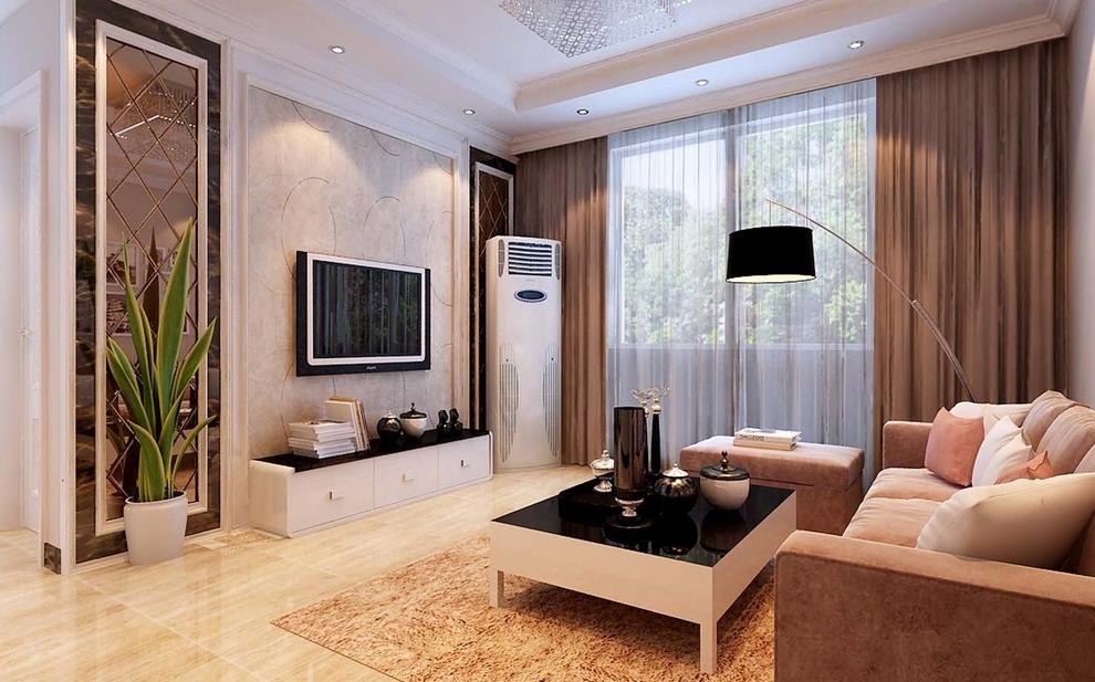 电视背景墙背景墙采用石膏线条造型,划分区域,采用菱形车边境装饰,深