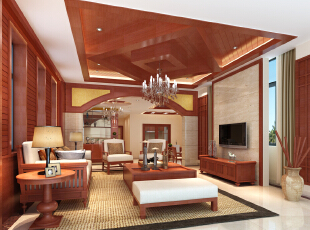 中式风格的搭配,一层为一室两厅一卫一厨,入户大上来台阶到客厅门洞图片