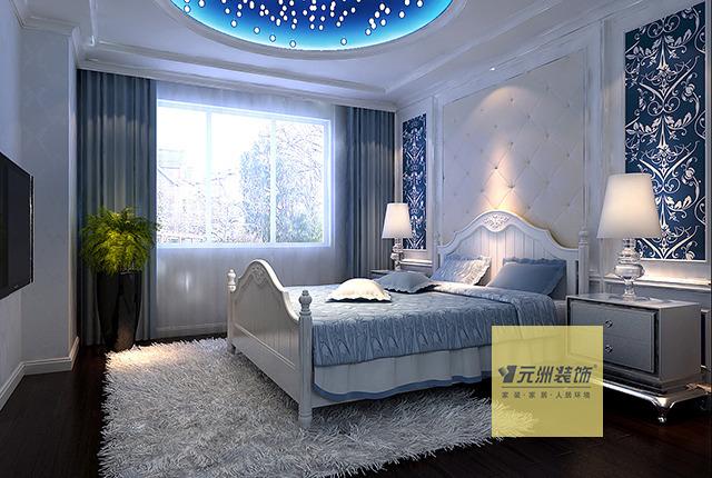 次卧室:次卧室为儿童房,顶面采用满天星的做法显得活泼可爱.