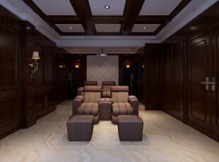 影音室 - 330平 42万 别墅 美式 效果图 - 谷居装修图片