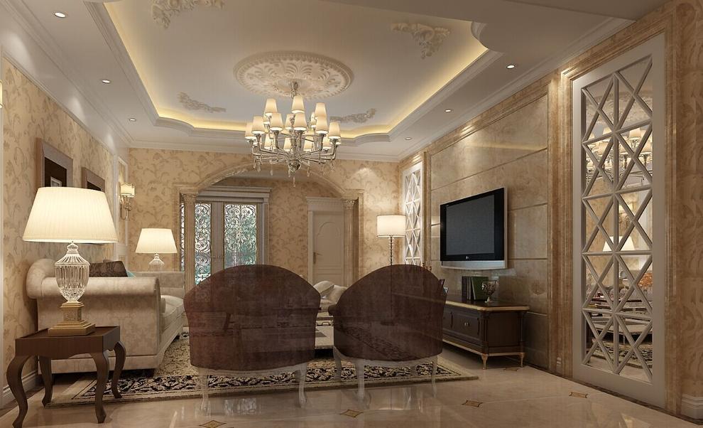 客厅的电视背景墙是用大理石拼接,欧式的吊顶,内侧镶嵌的是优雅的花型