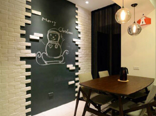 精巧温馨的餐厅,融合美式设计概念,搭配不规则蔓延的文化砖,中间零散展现随兴不拘之感,底部更使用黑板漆,打造可以自由挥洒的创作空间,现代,三居,餐厅,黑白,