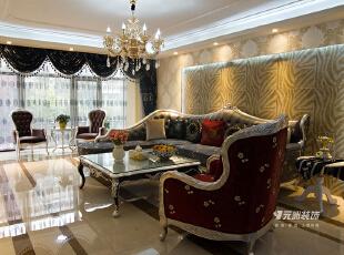 鑫界王府315平米欧式风格效果图,312平,120万,欧式,别墅,客厅,白色,原木色,红色,黄色,