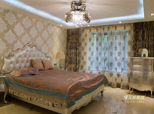 鑫界王府315平米欧式风格效果图,312平,120万,欧式,别墅,卧室,白色,原木色,红色,黄色,