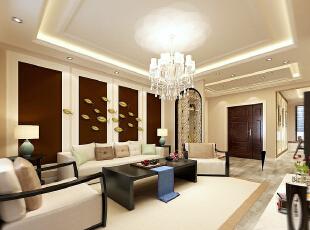 沙发墙没有选用传统意义上的材质,用了几种颜色的乳胶漆做出后面的整个立体感.....,一居,混搭,139平,12万,效果图,