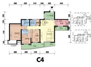 这个C4是原始的户型图,且看下面怎么改造。,135平,15万,欧式,三居,户型图,