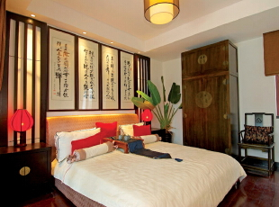 ,卧室,中式,原木色,
