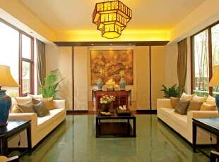 ,客厅,中式,黄色,
