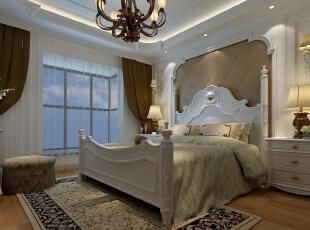 弧形的床头造型配上软包作为装饰,温馨浪漫。,效果图,欧式,12万,160平,四居,