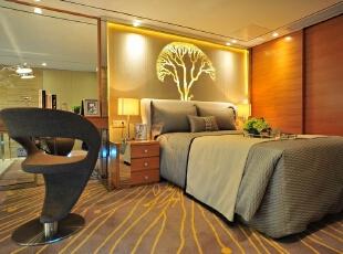 ,卧室,现代,原木色,