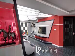 进门见到的色彩,让心瞬间飞扬。那些年,我们信仰过的红与黑。,110平,10万,现代,三居,客厅,红色,黑白,