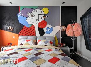 满墙热情大胆的抽象画,你被惊艳了吗?,110平,10万,现代,三居,卧室,红色,黑白,