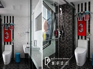 卫生间的磁砖价格并不高,但在我们的细心设计以后,很好的将砖的个性展现在我们眼前。,110平,10万,现代,三居,卫生间,黑白,红色,
